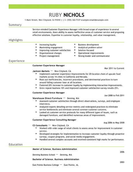 best customer experience manager resume example livecareer service retail emphasis Resume Service Experience Resume