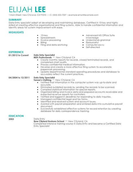 best data entry resume example livecareer processing examples administrative office Resume Data Processing Resume Examples