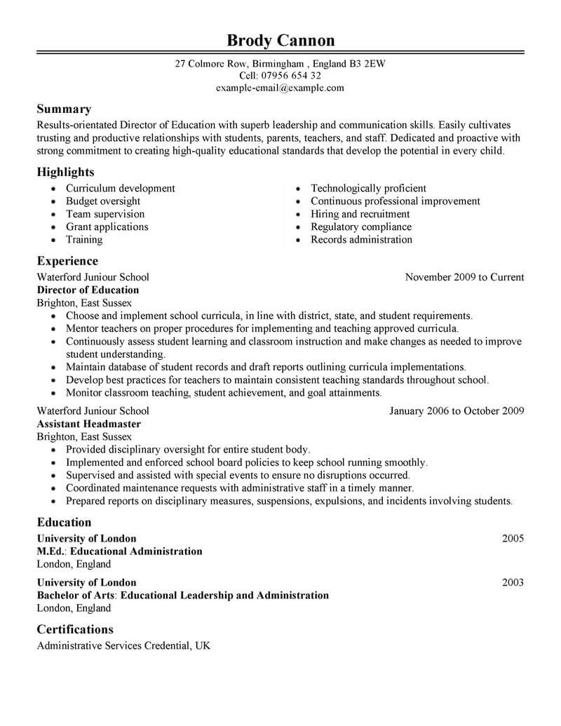 best director resume example livecareer for position education classic writing your cover Resume Resume For Director Position