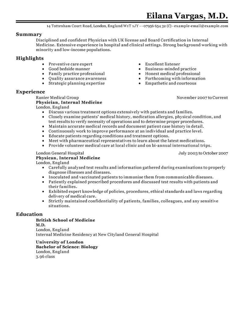 best doctor resume example livecareer medical examples healthcare classic school Resume Medical Resume Examples