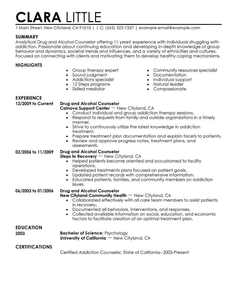 best drug and alcohol counselor resume example livecareer therapist examples social Resume Therapist Resume Examples