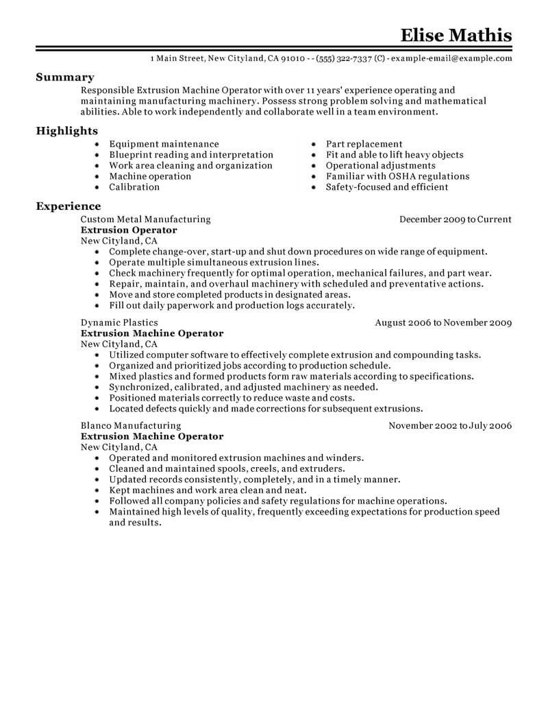 best extrusion operator resume example livecareer production technician warehouse classic Resume Production Technician Resume