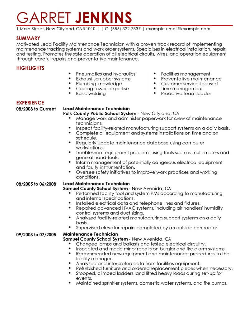 best facility lead maintenance resume example livecareer examples janitorial contemporary Resume Maintenance Resume Examples