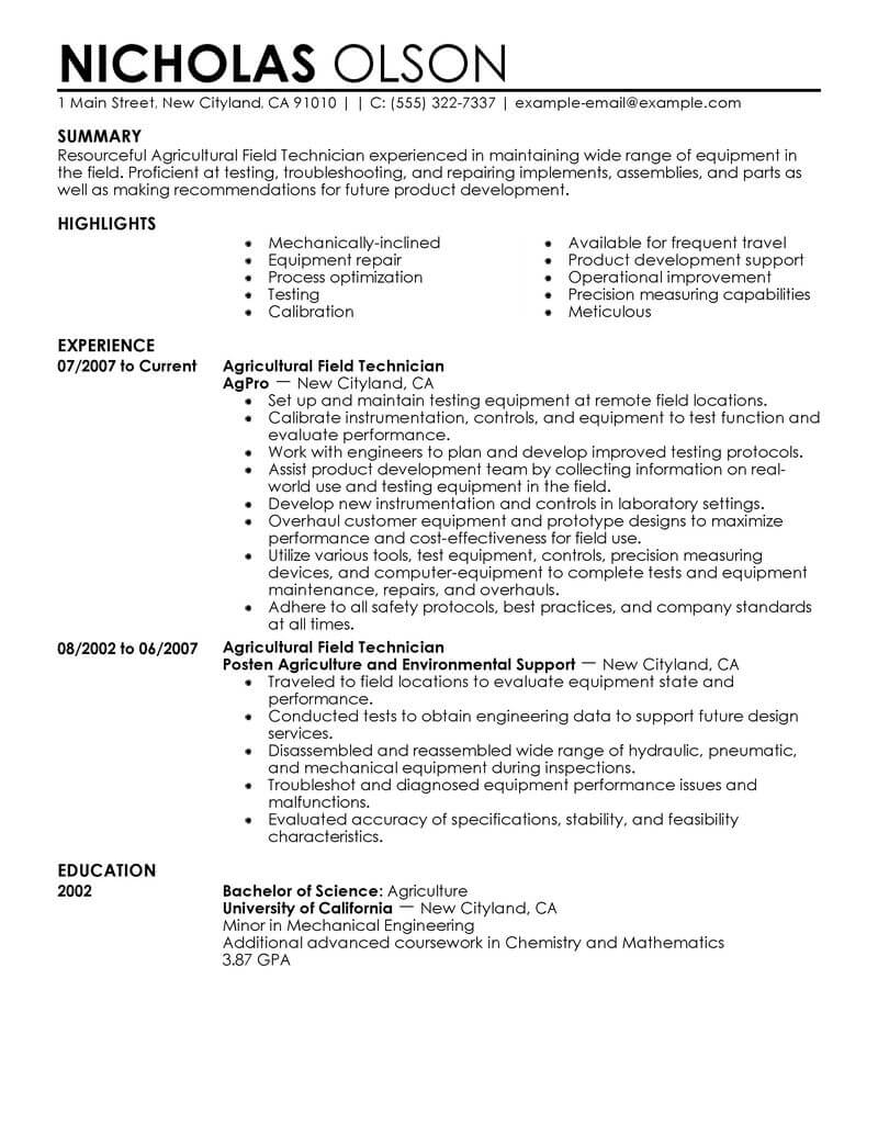best field technician resume example livecareer sample agriculture environment Resume Field Technician Resume Sample