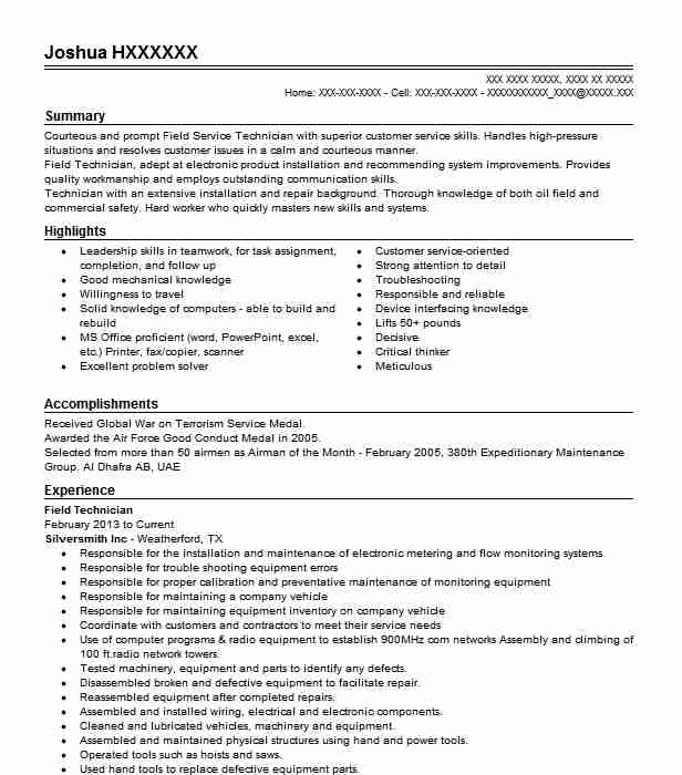 best field technician resume example livecareer sample crna group home counselor janitor Resume Field Technician Resume Sample