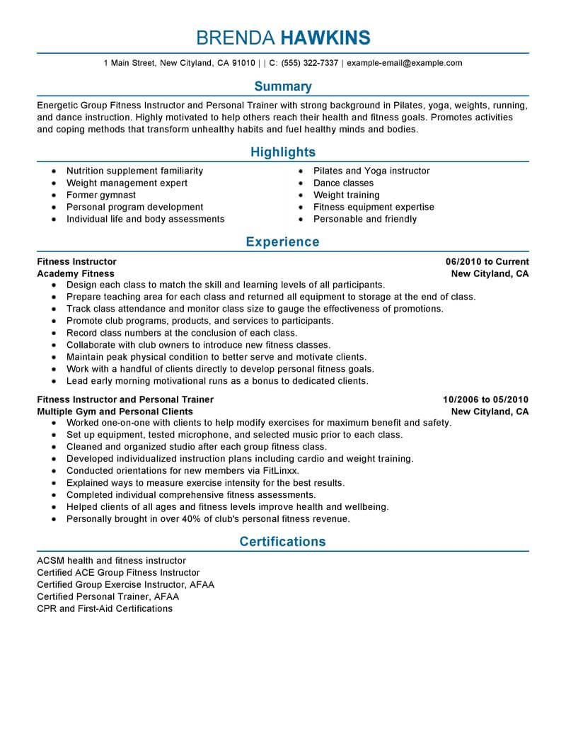 best fitness and personal trainer resume example livecareer experience care services Resume Resume Personal Experience