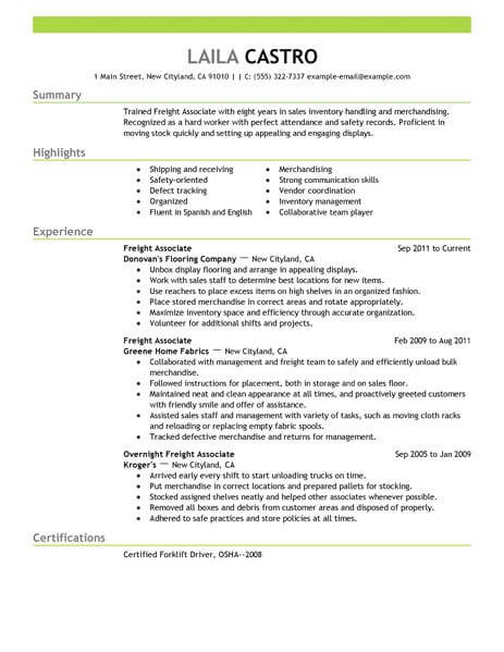 best freight associate resume example livecareer shipping and receiving emphasis 463x600 Resume Shipping And Receiving Associate Resume