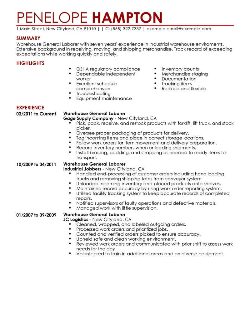 best general labor resume example livecareer generic objective production contemporary Resume Generic Resume Objective