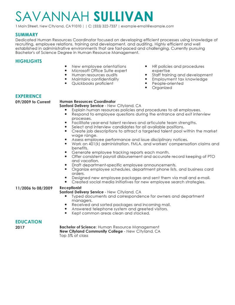 best hr coordinator resume example livecareer sample for recruiting human resources Resume Sample Resume For Recruiting Coordinator