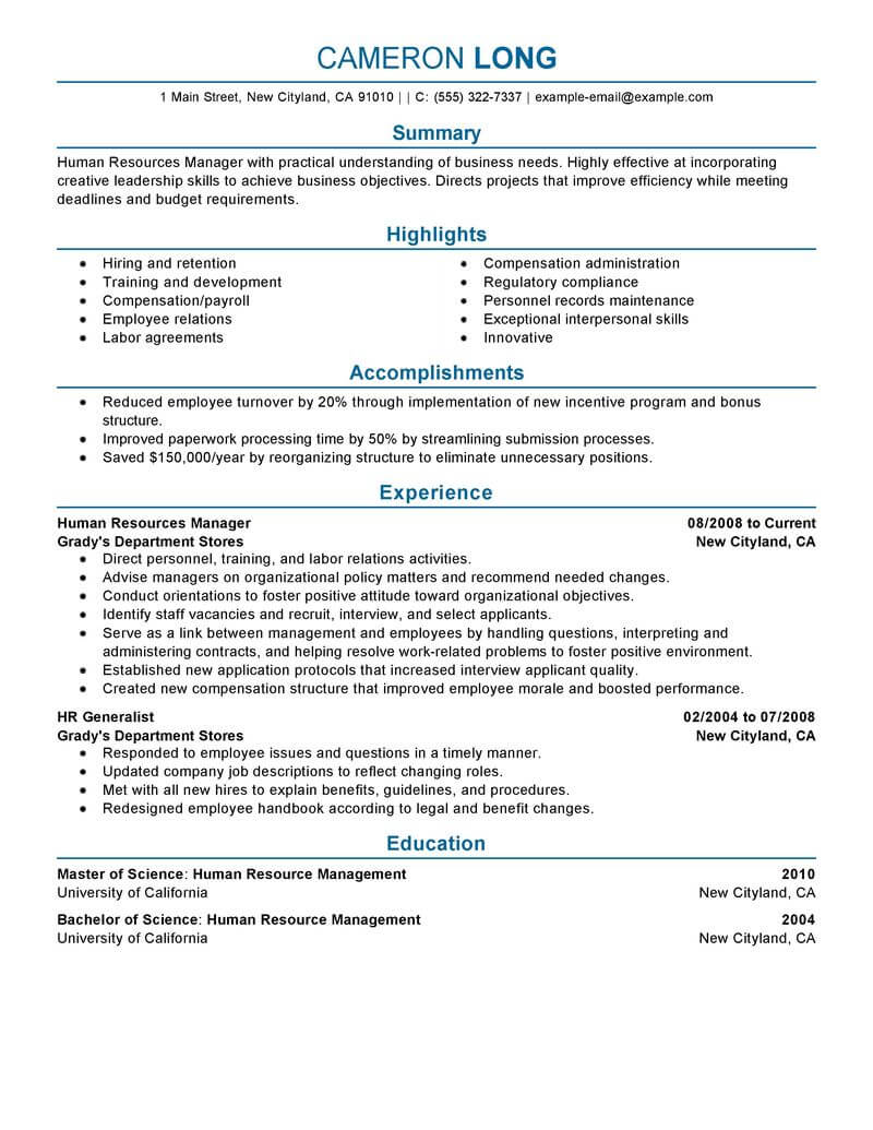 best human resources manager resume example livecareer director sample professional Resume Human Resources Director Resume Sample