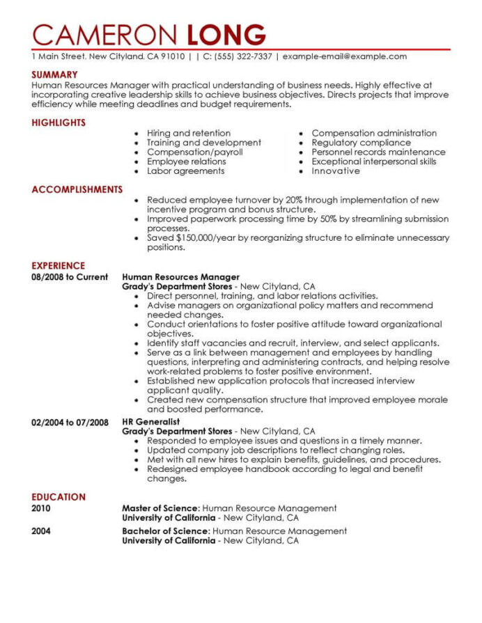 best human resources manager resume example livecareer resource management contemporary Resume Resource Management Resume Example