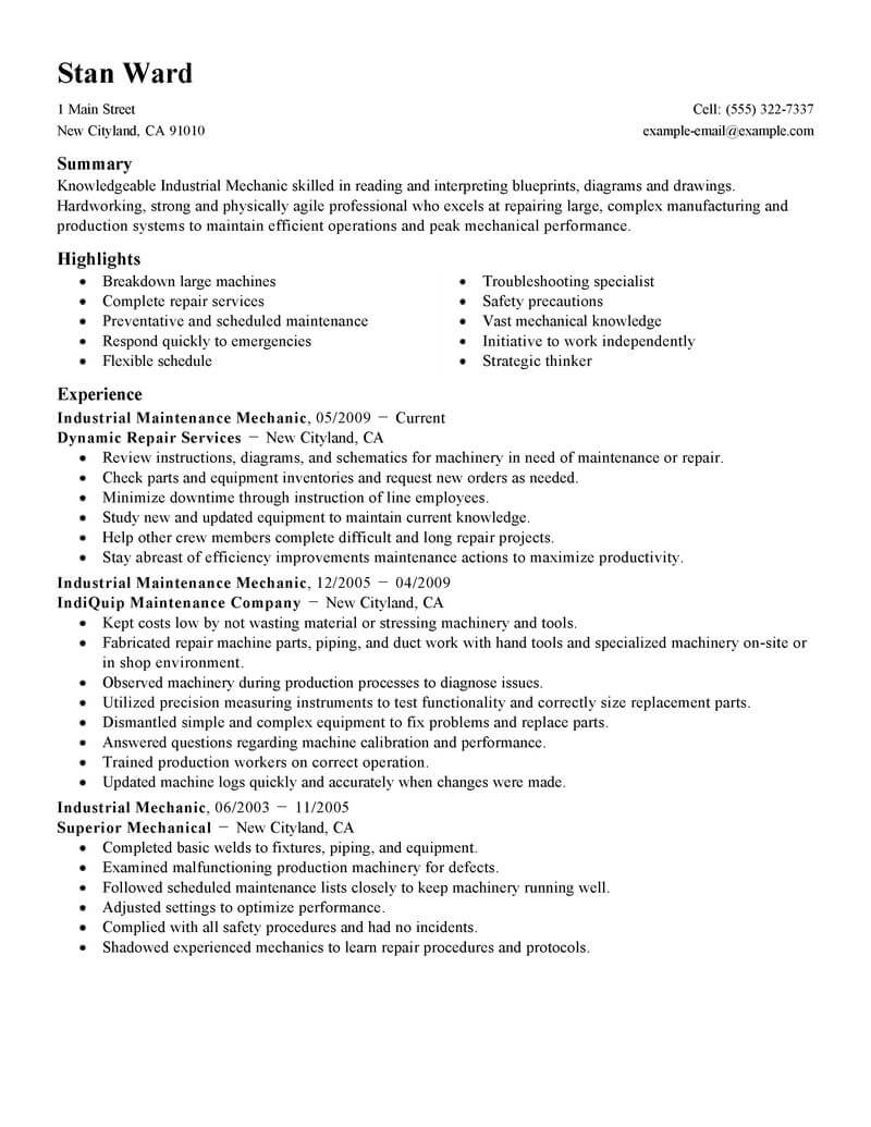 best industrial maintenance mechanic resume example livecareer examples for technician Resume Resume Examples For Maintenance Technician