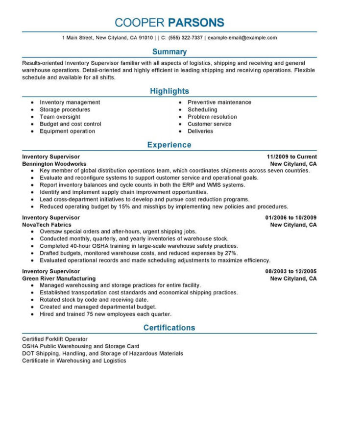 best inventory supervisor resume example livecareer shipping and receiving manager sample Resume Shipping And Receiving Manager Resume Sample
