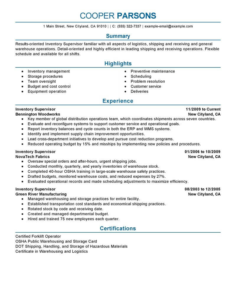 best inventory supervisor resume example livecareer warehouse sample production Resume Warehouse Supervisor Resume Sample