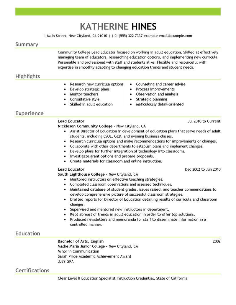 best lead educator resume example livecareer education credentials on emphasis sample Resume Education Credentials On Resume