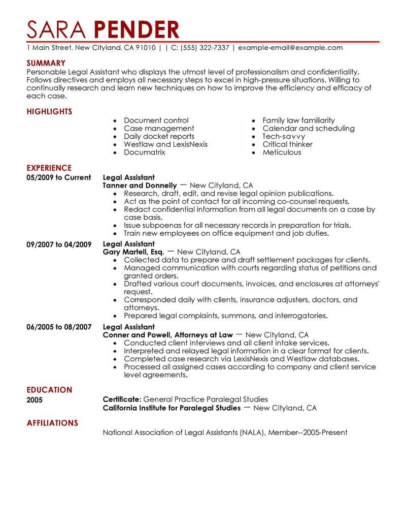 best legal assistant resume example livecareer sample for paralegal contemporary free Resume Sample Resume For Legal Assistant Paralegal