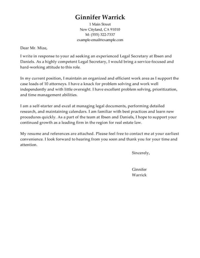 best legal secretary cover letter examples livecareer outstanding for resume traditional Resume Outstanding Cover Letter For Resume