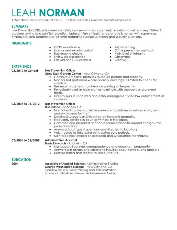best loss prevention officer resume example livecareer academic achievements examples Resume Academic Achievements Resume Examples