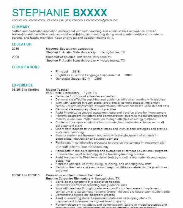 best master teacher resume example livecareer candidate for masters degree chemistry Resume Candidate For Masters Degree Resume