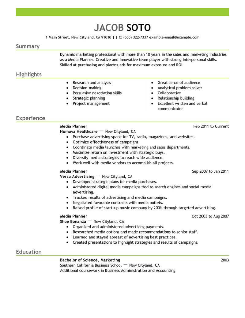 best media planner resume example livecareer descriptive words for profile marketing Resume Descriptive Words For Resume Profile