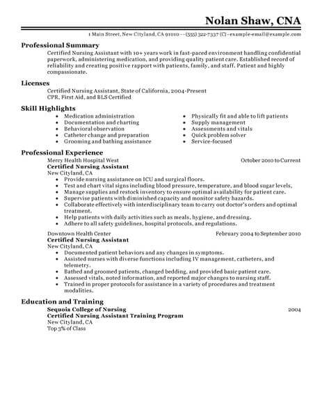 best nursing aide and assistant resume example livecareer duties for healthcare classic Resume Nursing Assistant Duties For Resume