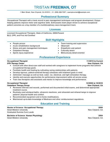 best occupational therapist resume example from professional writing service examples Resume Resume Examples Occupational Therapist