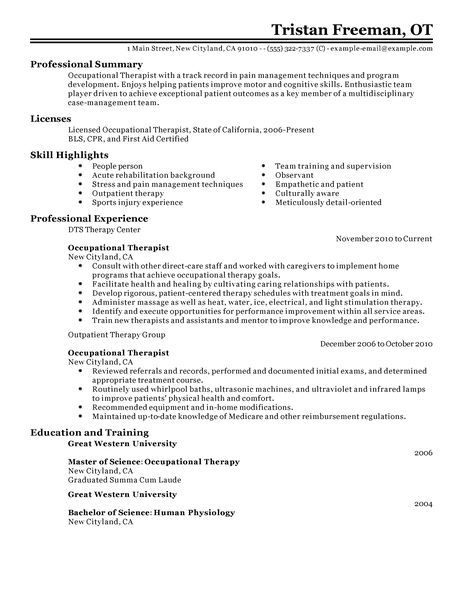 best occupational therapist resume example livecareer medical template examples freight Resume Resume Examples Occupational Therapist