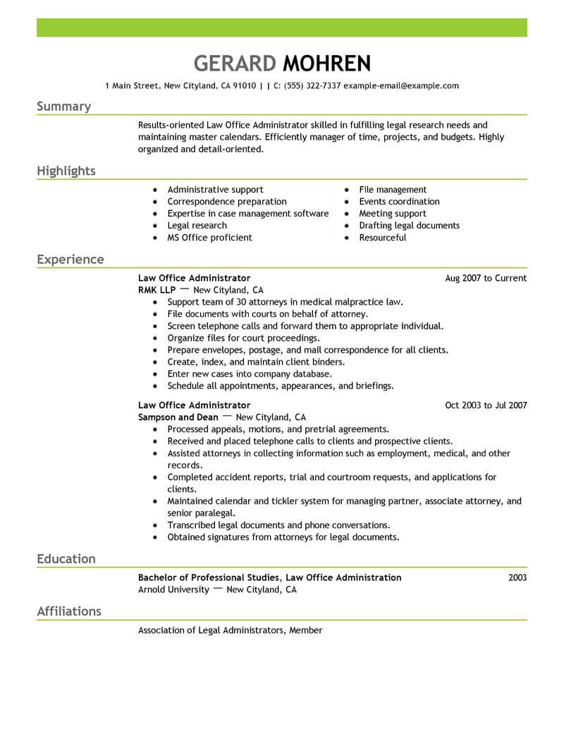 best office administrator resume example livecareer duties for legal emphasis better Resume Office Administrator Duties For Resume