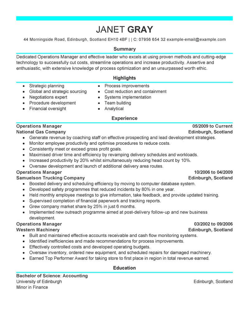 best operations manager resume example livecareer business management objective modern Resume Business Management Objective Resume