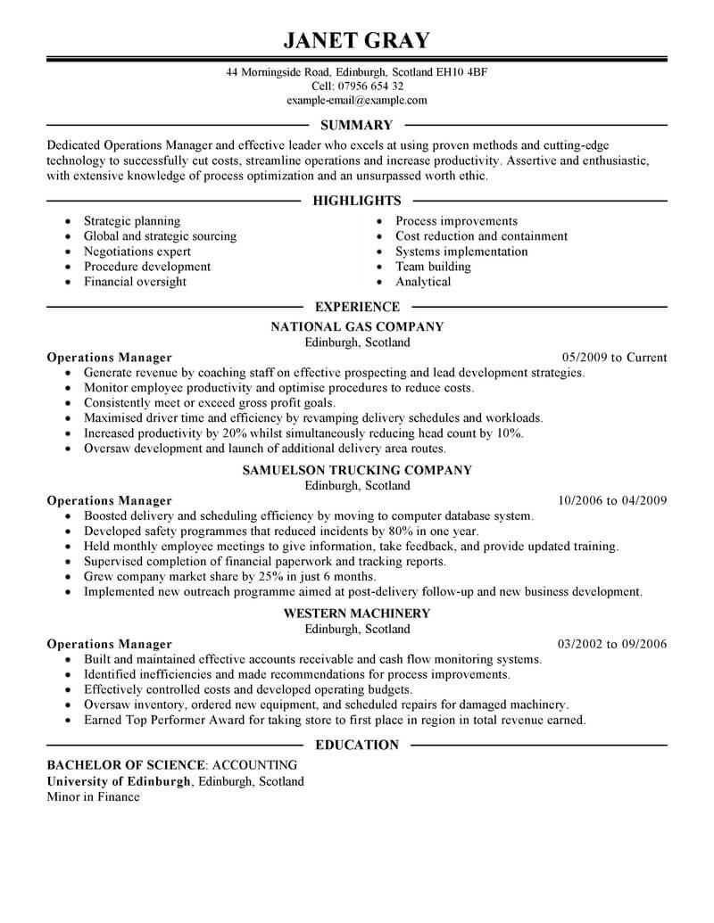 best operations manager resume example livecareer management executive representative job Resume Operations Manager Resume