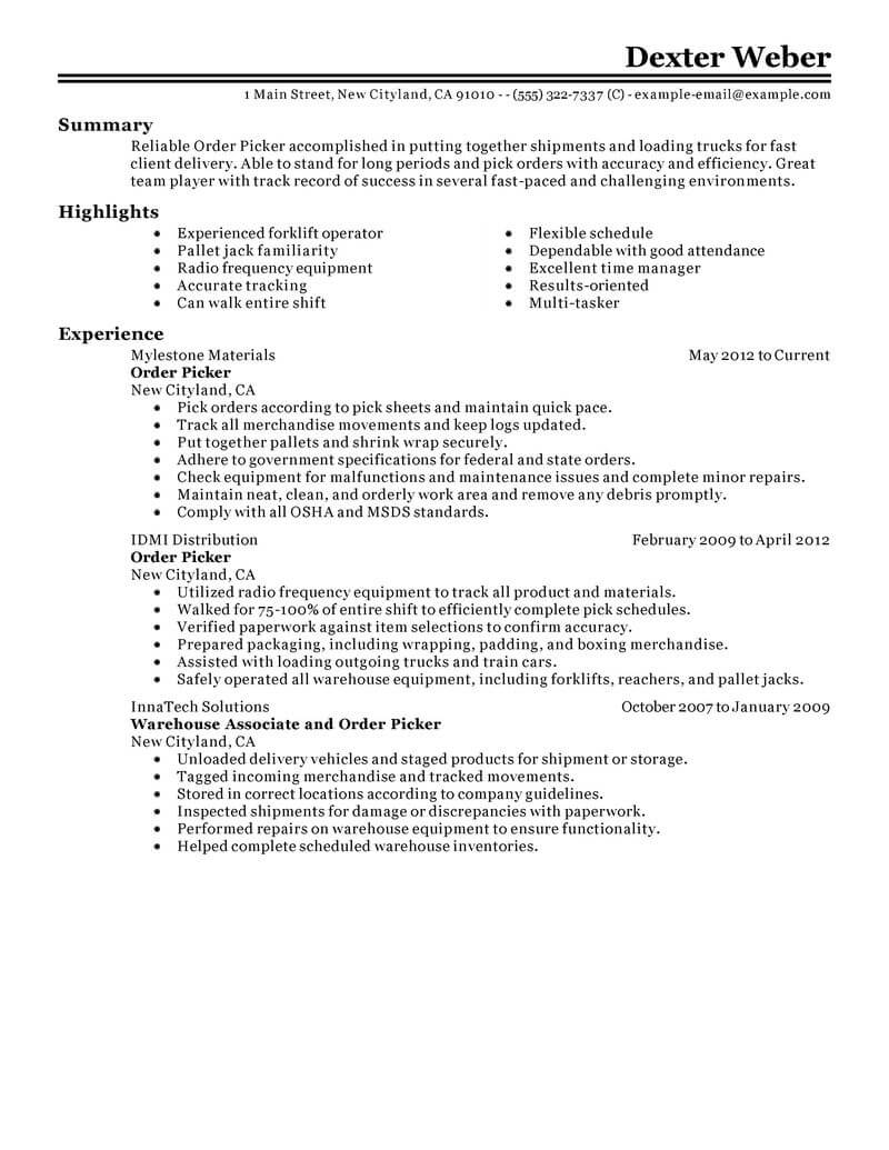 best order picker resume example livecareer warehouse government military classic action Resume Warehouse Order Picker Resume