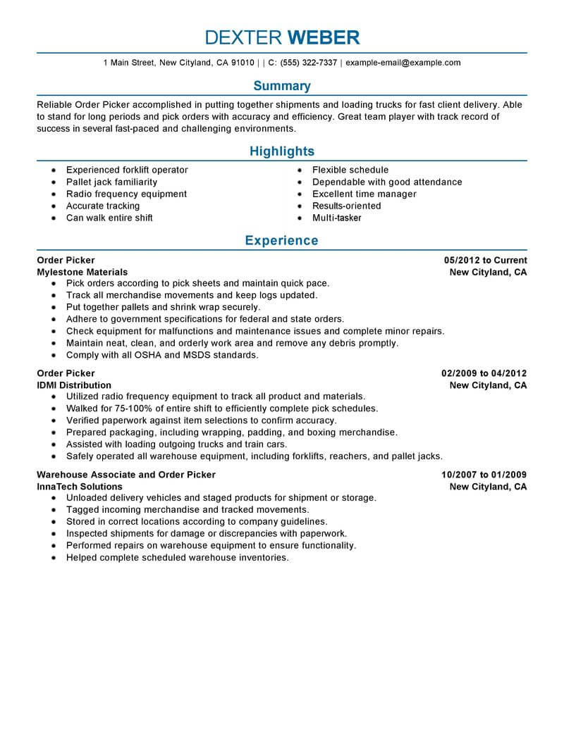best order picker resume example livecareer warehouse government military professional Resume Warehouse Order Picker Resume