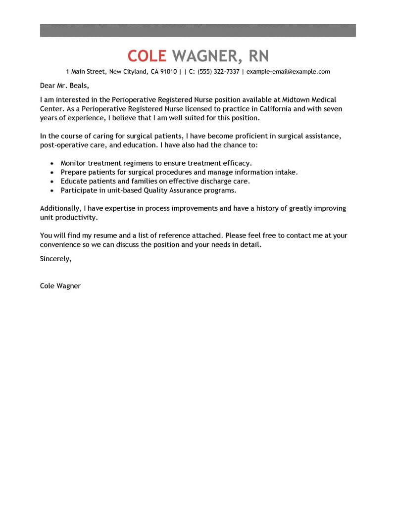 best perioperative nurse cover letter examples livecareer for nursing resume healthcare Resume Cover Letter For Nursing Resume Examples