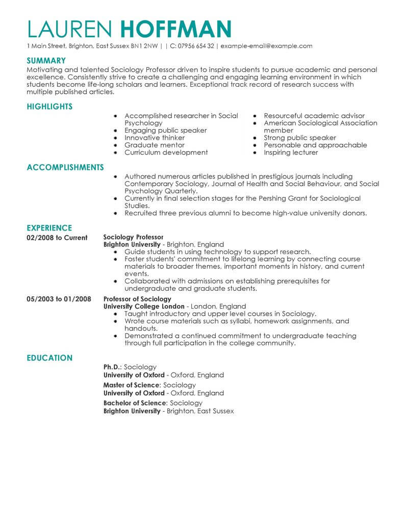 best professor resume example livecareer template for education contemporary experience Resume Resume Template For Professor