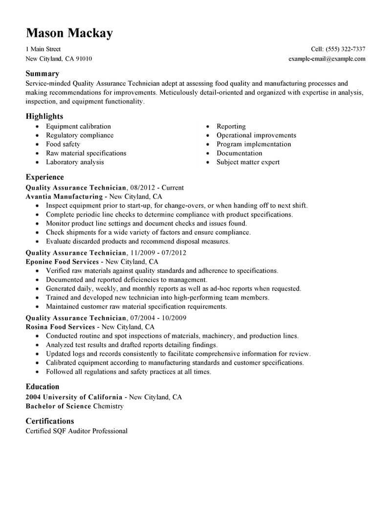 best quality assurance resume example livecareer sample wellness standard summary student Resume Quality Assurance Resume Sample