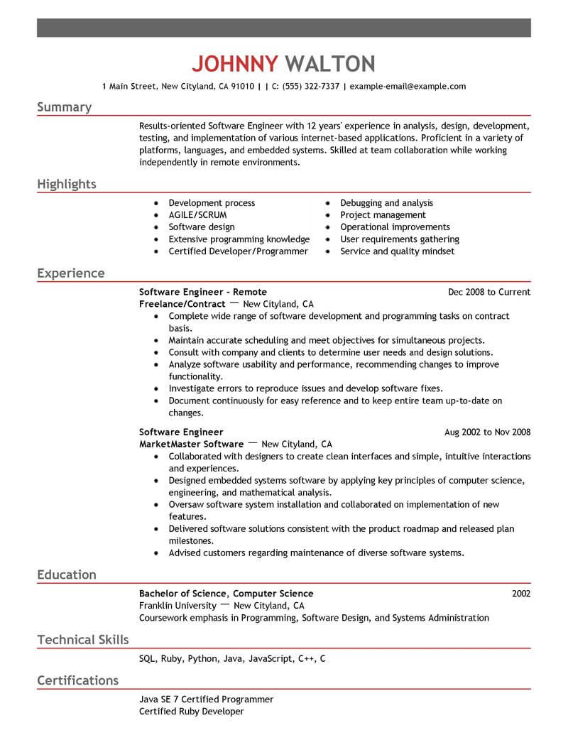 best remote software engineer resume example livecareer objective for experienced Resume Objective For Resume For Experienced Software Engineers