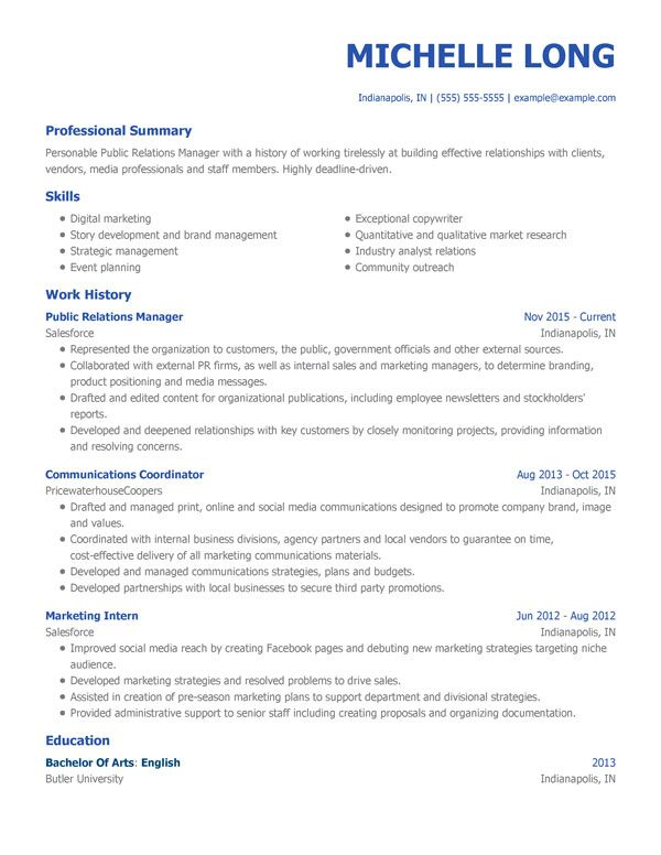 best resume templates for my perfect business template modern pr manager entry level Resume Business Resume Template