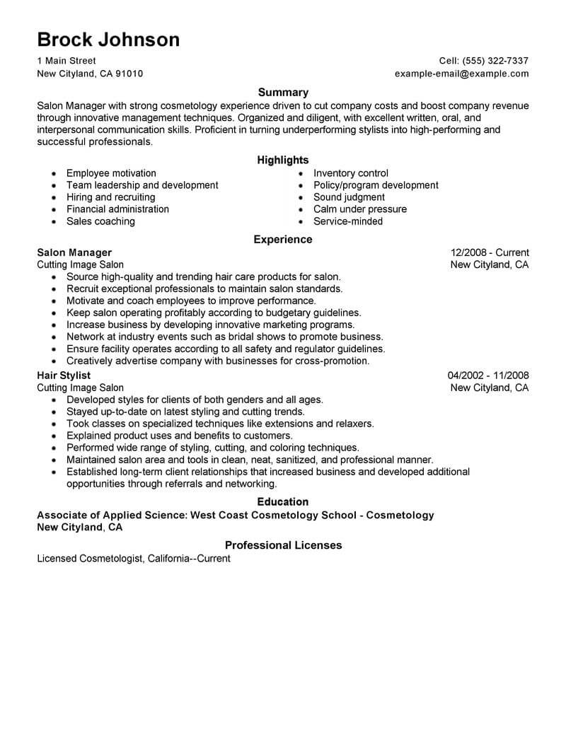 best salon manager resume example livecareer beauty parlour format spa fitness space Resume Beauty Parlour Resume Format