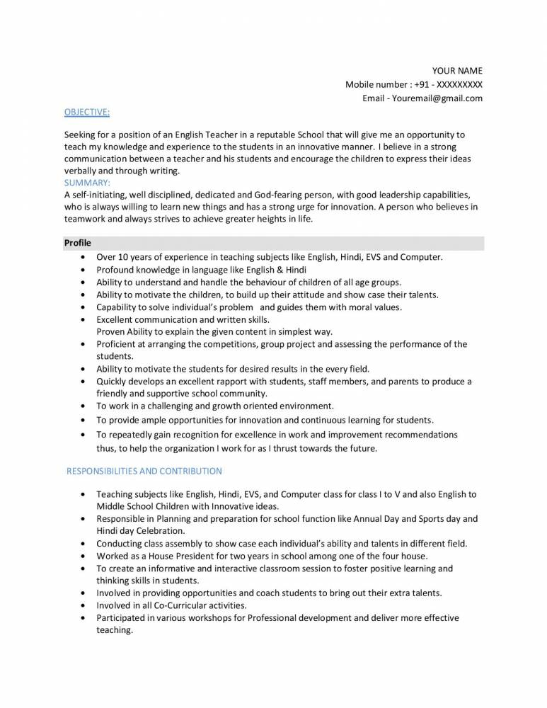 best sample resume for hindi and english teacher experienced cv samples projects now Resume Hindi Teacher Resume For School