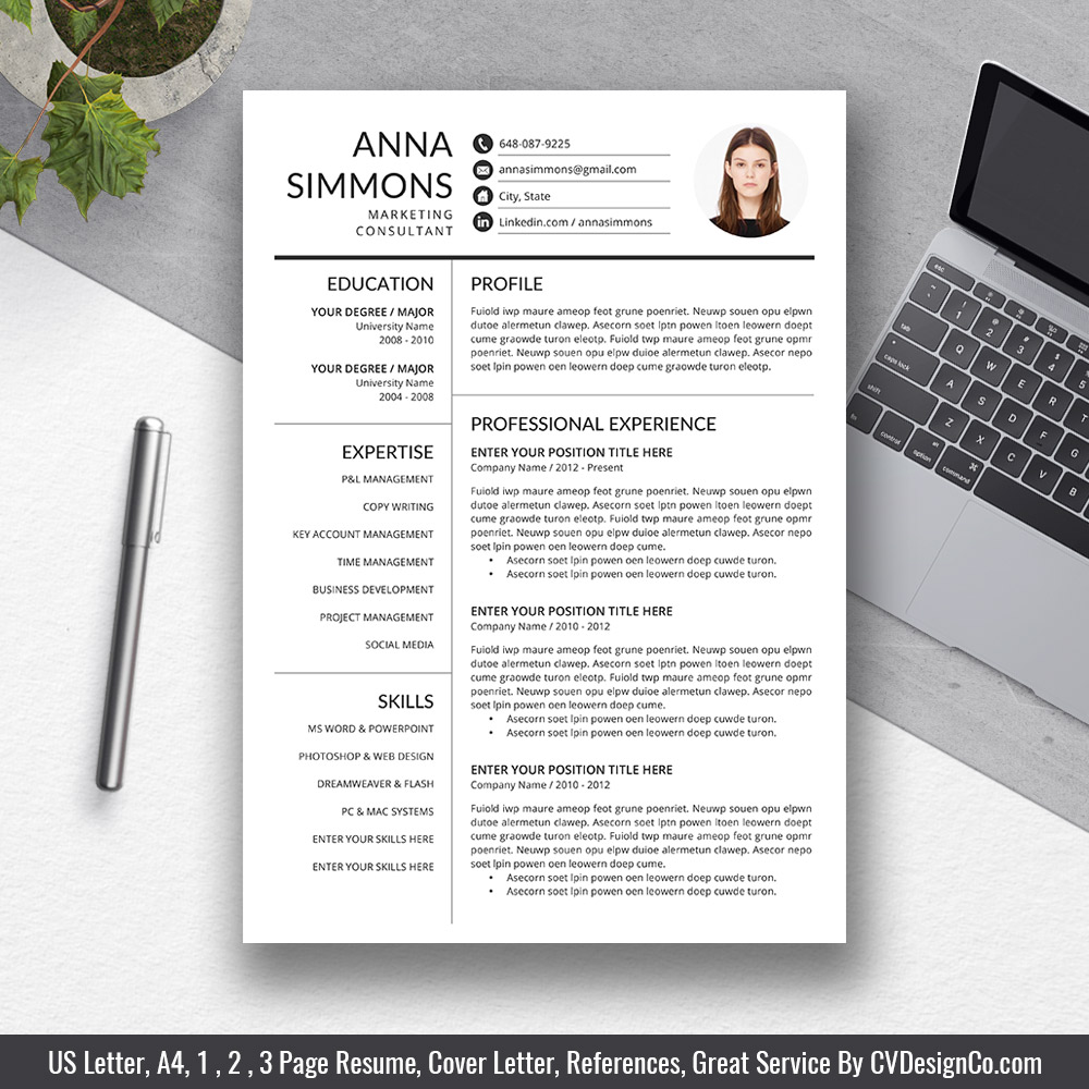 best selling office word resume cv templates cover letter references for digital instant Resume Resume 2019 Template Word