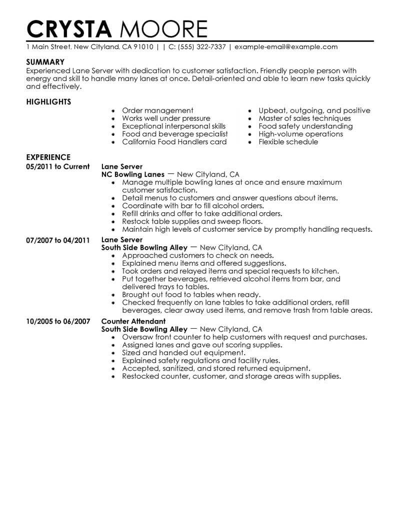 best server resume example livecareer entry level media entertainment contemporary Resume Entry Level Server Resume