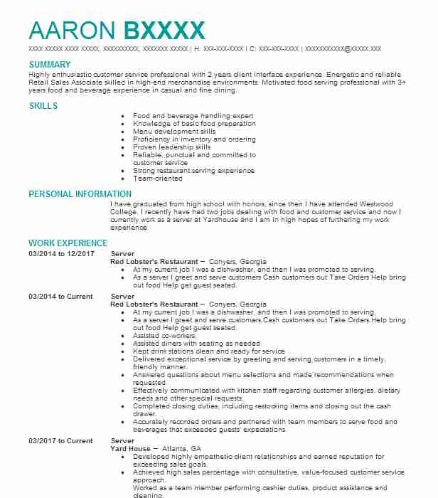 best server resume example livecareer restaurant examples poster salary requirements Resume Restaurant Server Resume Examples