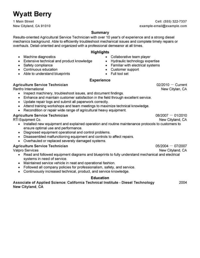 best service technician resume example livecareer summary for agriculture environment Resume Technician Summary For Resume