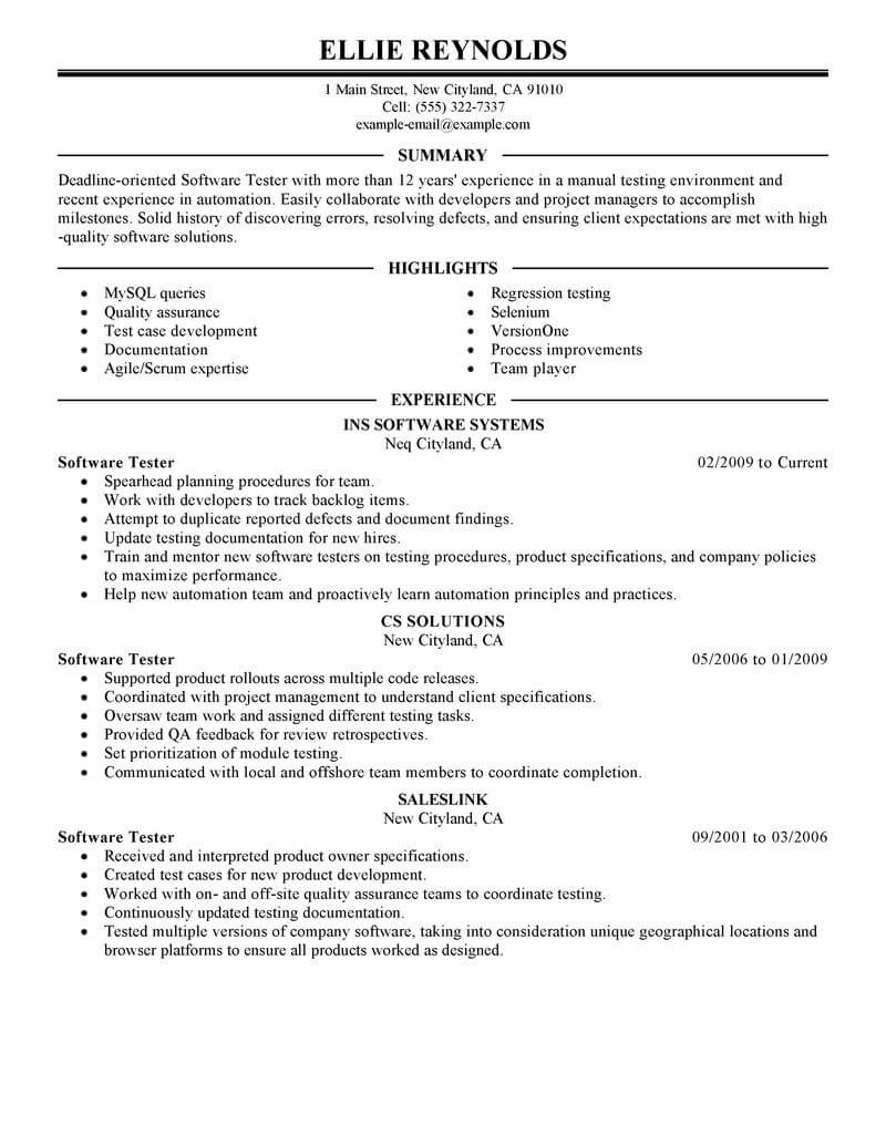 best software testing resume example livecareer entry level tester sample it executive Resume Entry Level Software Tester Resume Sample