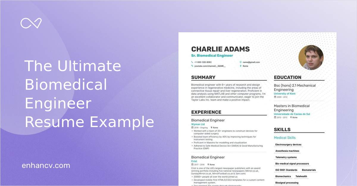 biomedical engineer resume step ultimate guide for enhancv fresher personal statement Resume Biomedical Engineer Fresher Resume