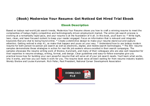 book modernize your resume get noticed hired trial ebook free maker for students federal Resume Modernize Your Resume Get Noticed Get Hired
