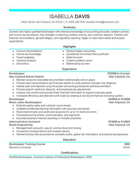 bookkeeper resume examples accounting finance livecareer professional esthetician samples Resume Bookkeeper Resume Samples