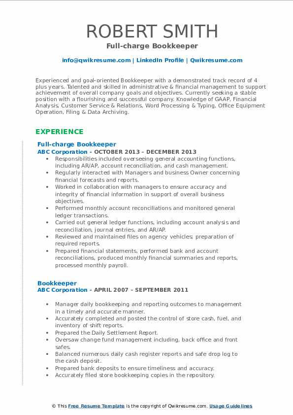 bookkeeper resume samples qwikresume pdf med surg job description for paraprofessional Resume Bookkeeper Resume Samples