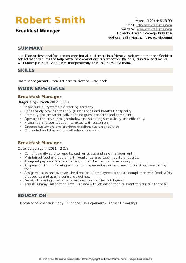 breakfast manager resume samples qwikresume burger assistant pdf section titles msw Resume Burger King Assistant Manager Resume