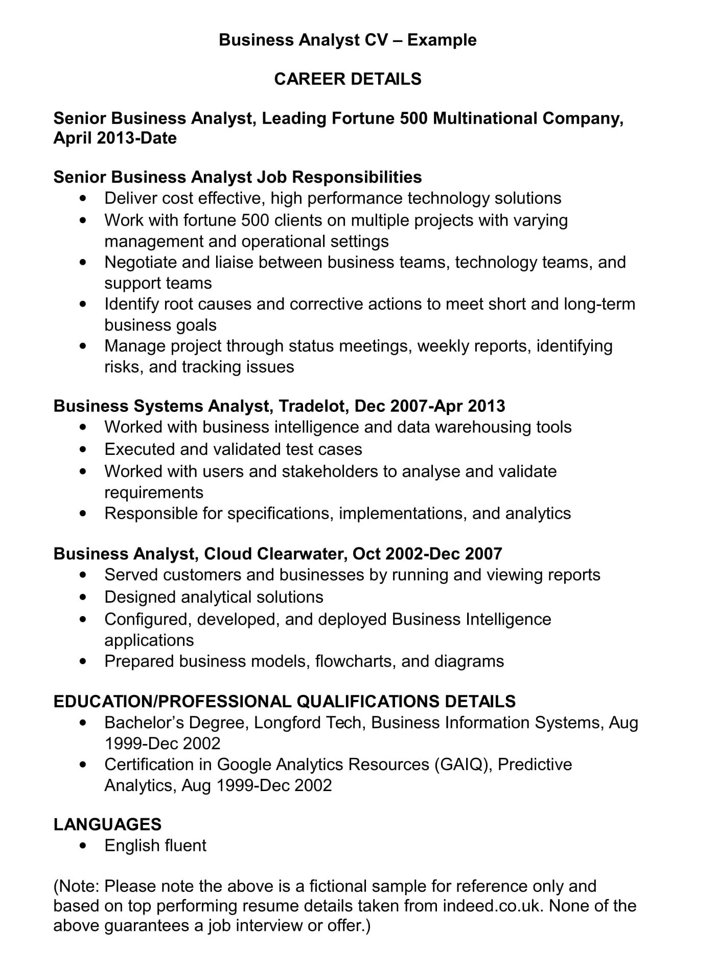 business analyst cv template and examples renaix resume indeed businsess example summary Resume Business Analyst Resume Indeed